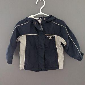 Roots navy blue & grey zip up hooded wind jacket
